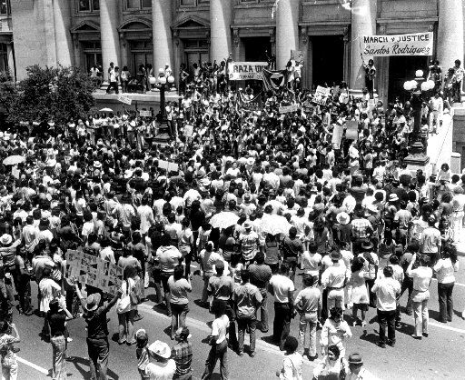 July 28, 1973 --- Mexican-Americans demonstrate  in front of Dallas city hall.