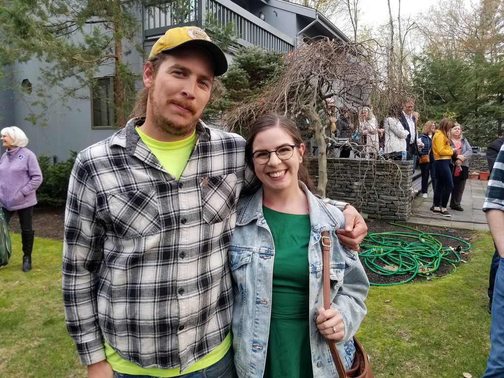 """In Salem, N.H., Beto O'Rourke stumped for president on May 9, 2019. Kirsten and Ross Mainville of Fremont, N.H., each put him in their top three  in the Democratic primary, even though they view him as a moderate and describe themselves as """"very liberal."""" For them, electability is paramount, and they're impressed at his ability to connect with voters and his sincerity at trying to bridge divides."""