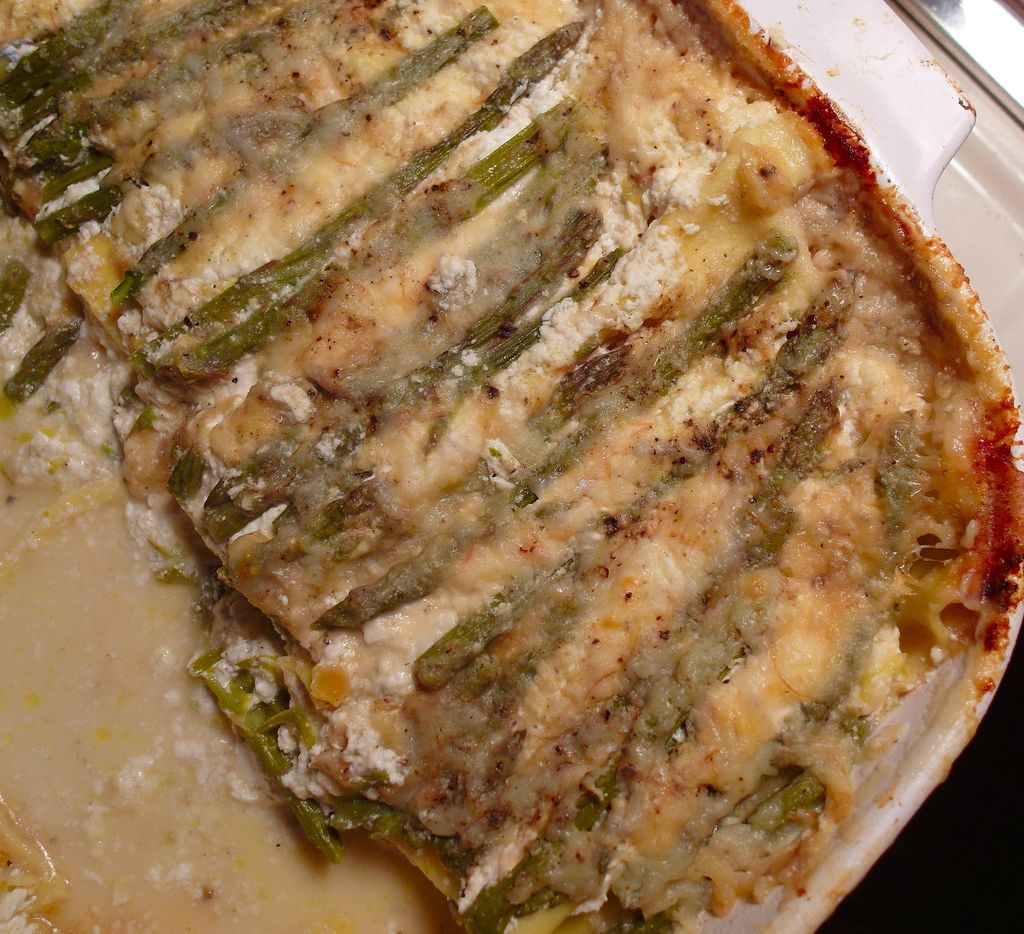 This asparagus lasagna, made by Alfonso Cevola, is made with fresh lasagna noodles from Jimmy's Food Store in Dallas.