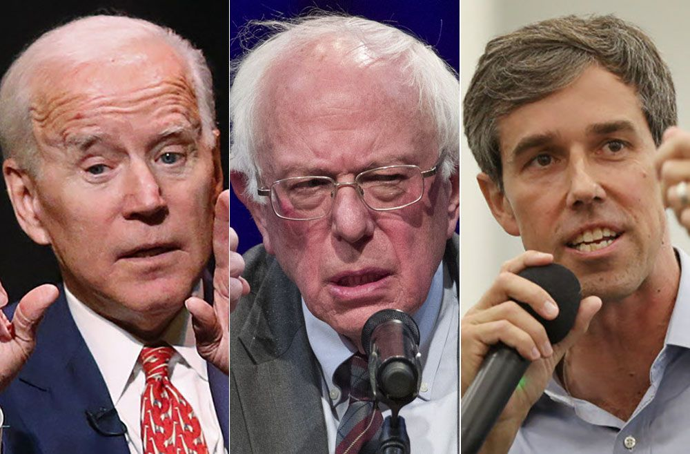 The frontrunners in the Texas presidential primaries, according to a new Dallas Morning News/Emerson College poll.are Joe Biden, Bernie Sanders and Beto O'Rourke. (Rick Bowmer, Alex Brandon/AP; Rose Baca/Staff Photographer)