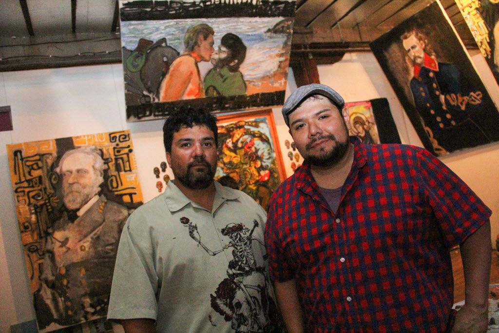 Artists Jerrel and John Sustaita in their studio at the Continental Gin Building Open Studios on April 18, 2015