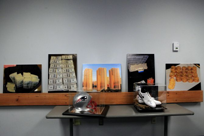 Some of the memorabilia seized during the sports ring bust was displayed at police headquarters. They will be auctioned, with proceeds going to the investigating agencies.
