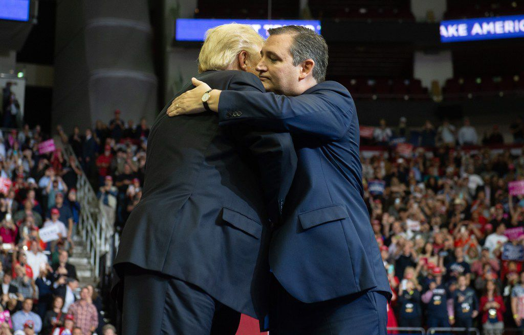 US President Donald Trump greets US Senator Ted Cruz (R), Republican of Texas, during a campaign rally at the Toyota Center in Houston, Texas, on October 22, 2018. (Photo by SAUL LOEB / AFP)SAUL LOEB/AFP/Getty Images