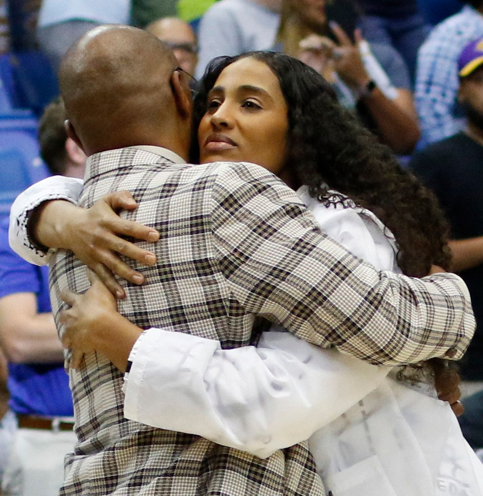 Dallas Wings guard Skylar Diggins-Smith shares a hug with former Wings head coach Fred Williams following the Wings' 74-62 victory over the Los Angeles Sparks. Williams is an assistant coach for the Sparks. The two teams played their WNBA game at College Park Center in Arlington on July 9, 2019.  (Steve Hamm/ Special Contributor)