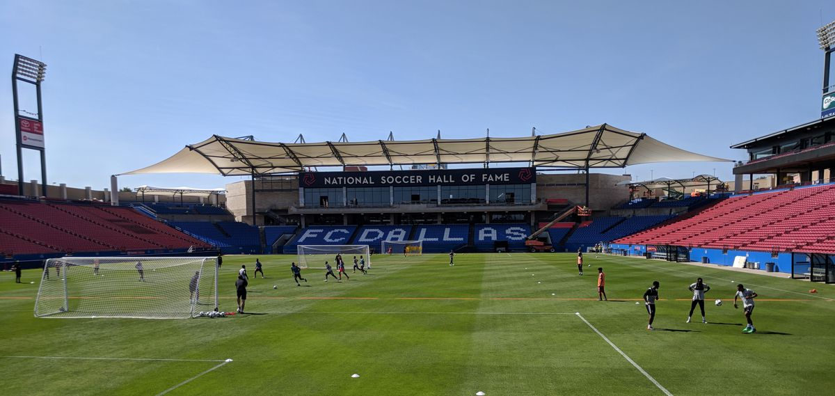 FC Dallas trains in the main stadium.  (5-10-18)