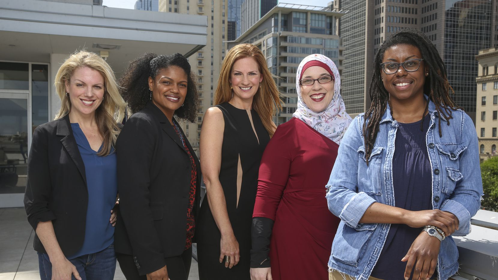 Left to right, Anna Clark,  Yulise Waters, Michelle Kinder, Alia Salem, and Joli Robinson, the peer coaches of the 2019 Public Voices project in Dallas.