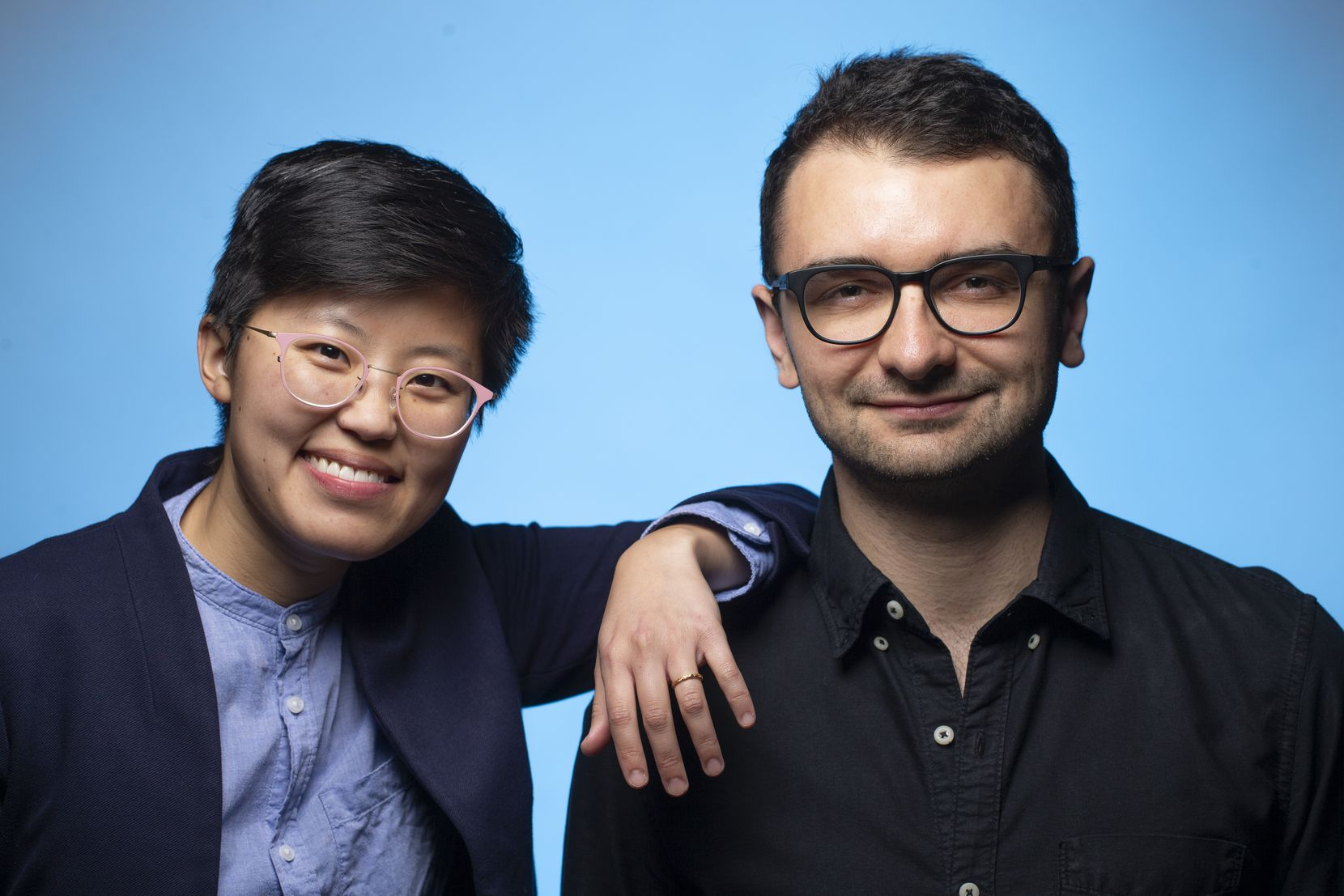 Former 'News' features intern Irena Fischer-Hwang, left, and Tim Diovanni, in 2019 at The Dallas Morning News studio.