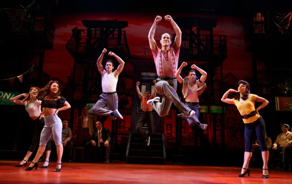 The Cast of A Bronx Tale, shown here on Broadway at The Longacre Theatre in New York, N.Y. A Bronx Tale, which will be new to Dallas, is part of the AT&T Performing Arts Center's six-show 2018-19 Broadway Series.
