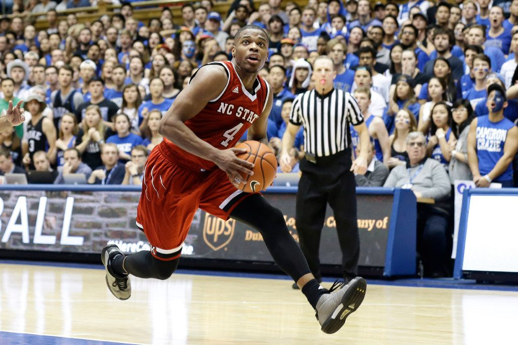 North Carolina State's Dennis Smith Jr. (4) drives to the basket against Duke during the second half of an NCAA college basketball game in Durham, N.C., Monday, Jan. 23, 2017. North Carolina State won 84-82. (AP Photo/Gerry Broome)