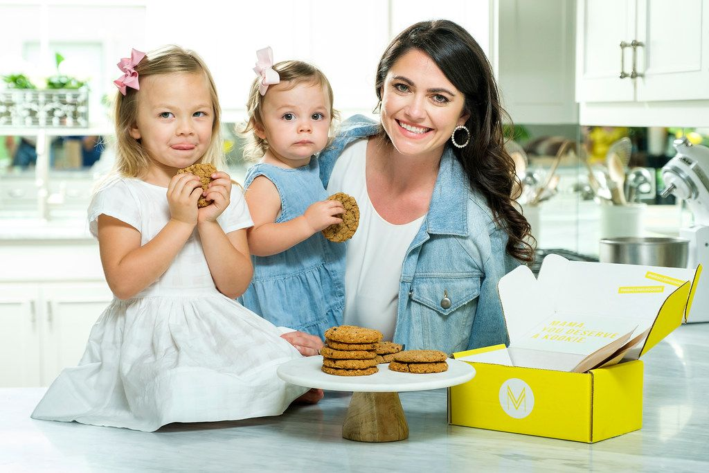 Whitney Rowell photographed with her daughters Stella, 3, and Charlotte, 1, and a plate of her Miracle Milkookies lactation cookies on May 6, 2019, in Dallas. Rowell is the founder and CEO of Miracle Milkookies, a lactation cookie to help new/nursing mothers boost their milk production.