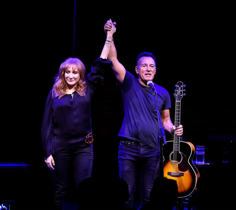 Patti Scialfa and Bruce Springsteen onstage during 'Springsteen On Broadway' at Walter Kerr Theatre on October 12, 2017 in New York City