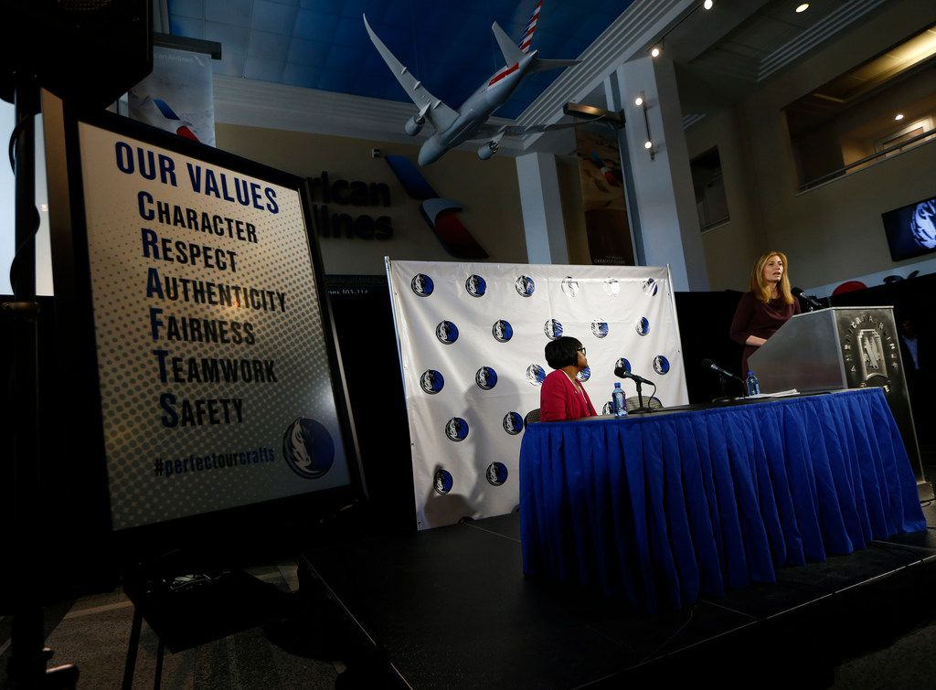 Anne Milgram, Special Counsel, Lowenstein Sandler LLP, (right) and Cynthia Marshall, CEO, Dallas Mavericks talk about the study of sexual harassment and culture in the Dallas Mavericks corporate offices at American Airlines Center in Dallas on Sept. 19, 2018.  (Nathan Hunsinger/The Dallas Morning News)