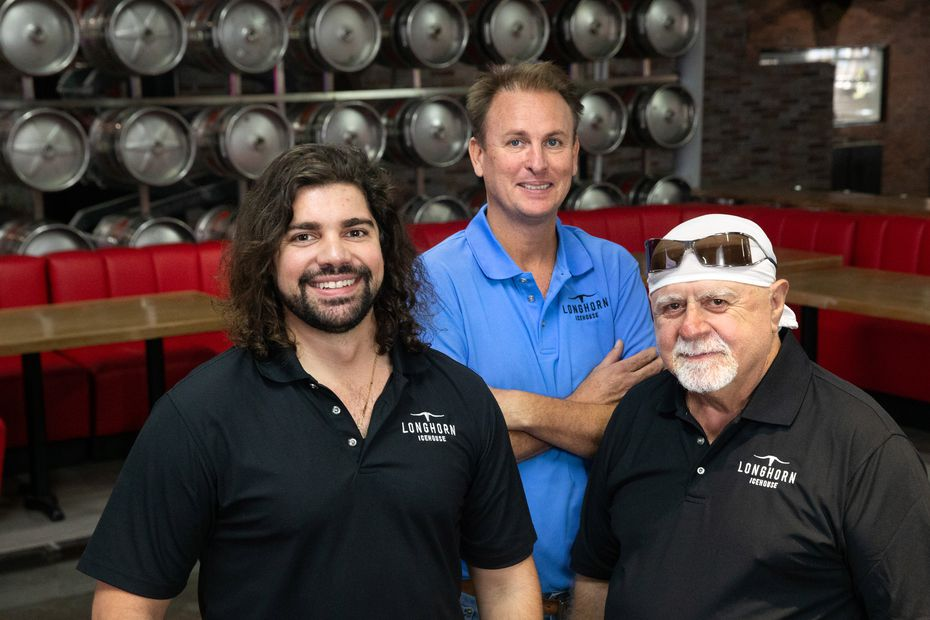 Longhorn Icehouse co-owners (from left) include Max Rizos, Abraxas Baker and Nick Rizos.