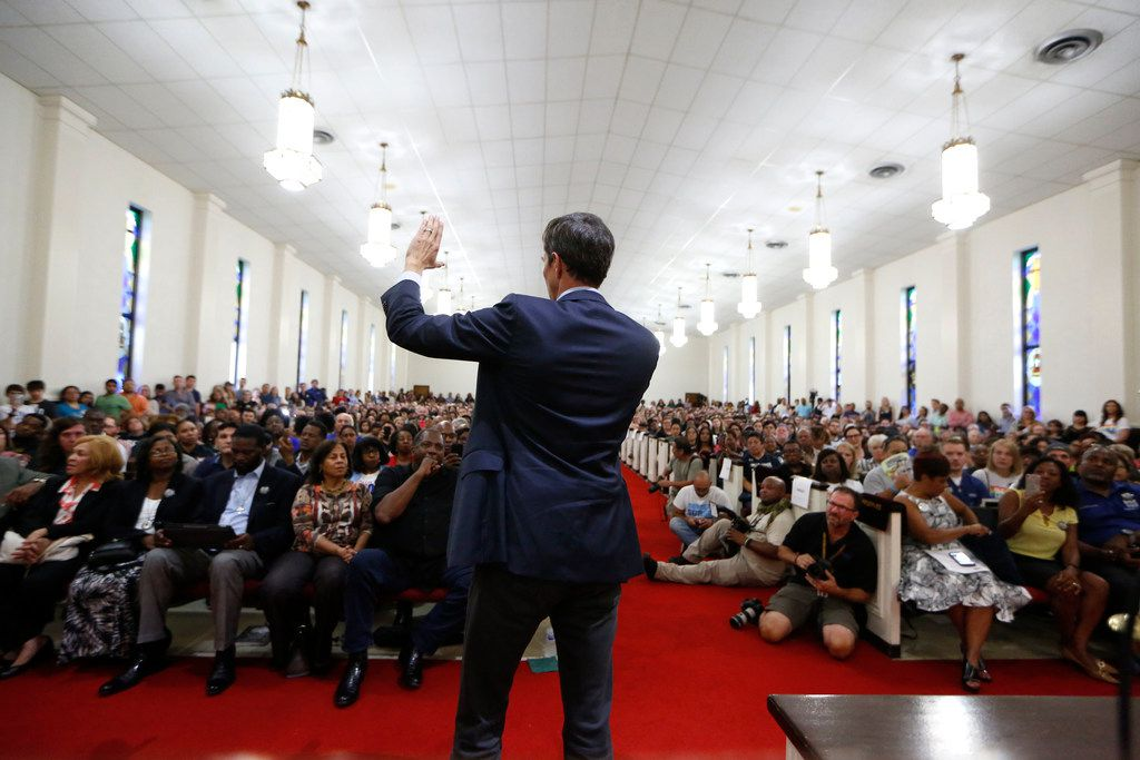 Beto O'Rourke speaks to the crowd during the South Dallas with Beto! event at Good Street Baptist Church in Dallas on Sept. 14, 2018.  (Nathan Hunsinger/The Dallas Morning News)
