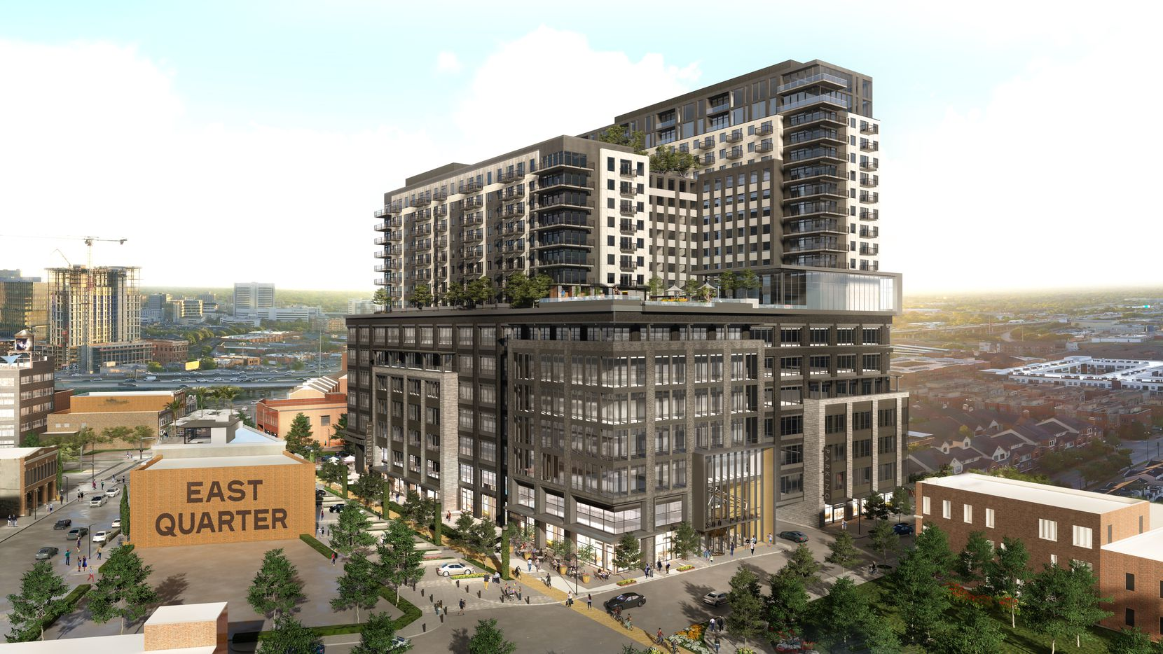 Todd Interests is building a new high-rise retail, office and apartment project in its East Quarter neighborhood.