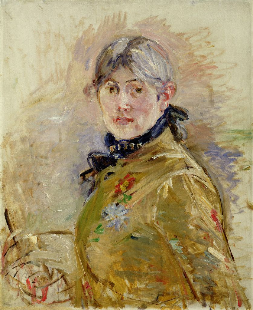 Berthe Morisot painted this self-portrait in 1885 using oil on canvas.