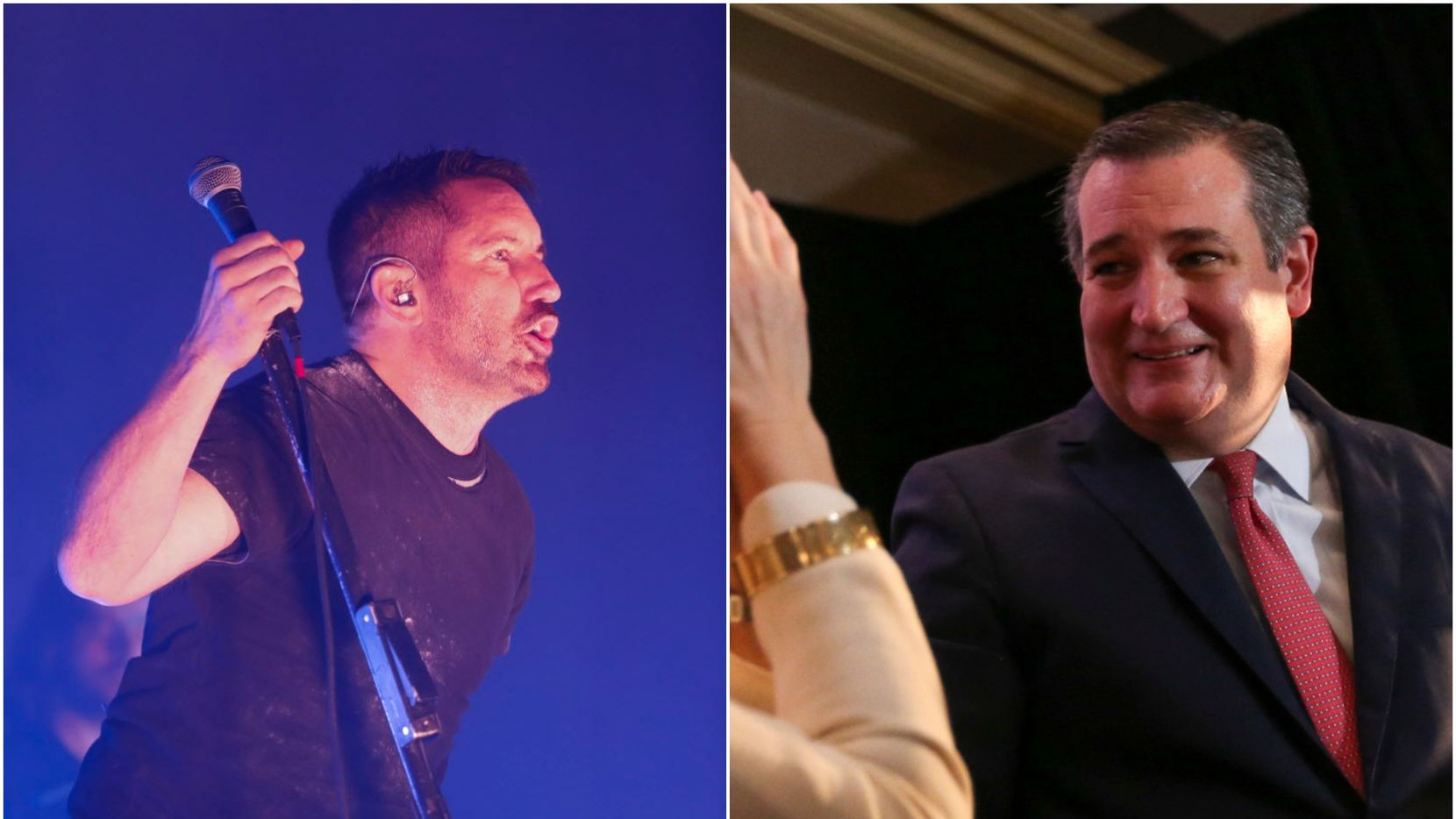 """At Nine Inch Nails' Irving show, lead singer Trent Reznor (left) joked that he told Ted Cruz (right) to """"[expletive] off"""" when the senator asked for backstage passes."""