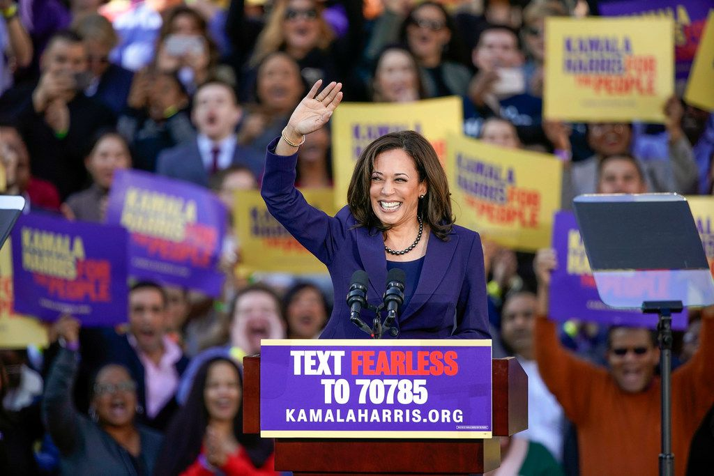 Democratic Sen. Kamala Harris of California waved to the crowd as she formally launched her presidential campaign at a rally in her hometown of Oakland on Jan. 27, 2019.