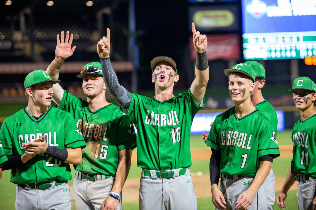 Southlake Carroll outfielder Brandon Howell (15) and infielder Austin Hale (16) wave to their friends and family after their win over Austin Lake Travis at their 6A UIL baseball state semifinal game at the Dell Diamond on June 7, 2019 in Round Rock, Texas. (Thao Nguyen/Special Contributor)
