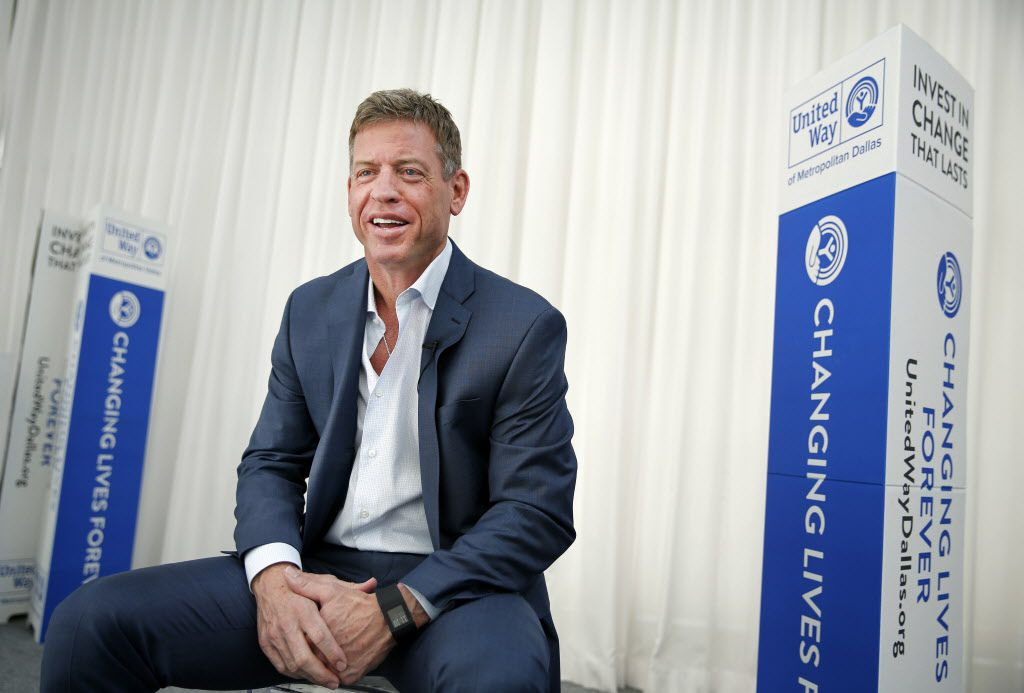 Hall of Fame Dallas Cowboys quarterback Troy Aikman visit with the media during a United Way of Metropolitan Dallas one-on-one interview at the Joule Hotel in downtown Dallas, Thursday, February 23, 2017. Aikman will lead the United Way of Metropolitan Dallas 2017-18 fundraising campaign. (Tom Fox/The Dallas Morning News)