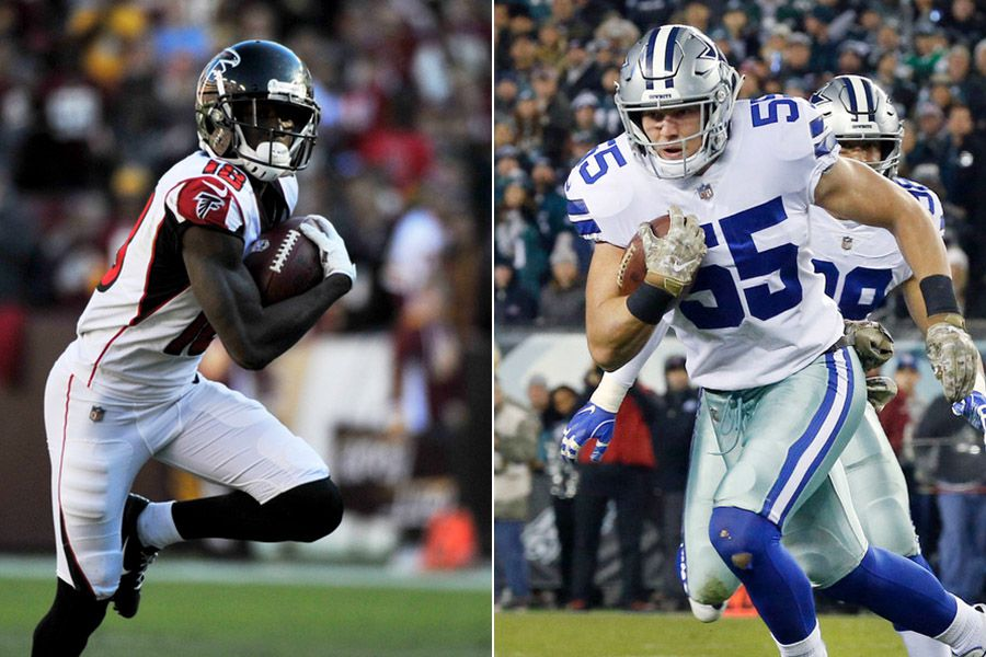Falcons wide receiver Calvin Ridley (left) and Cowboys linebacker Leighton Vander Esch.