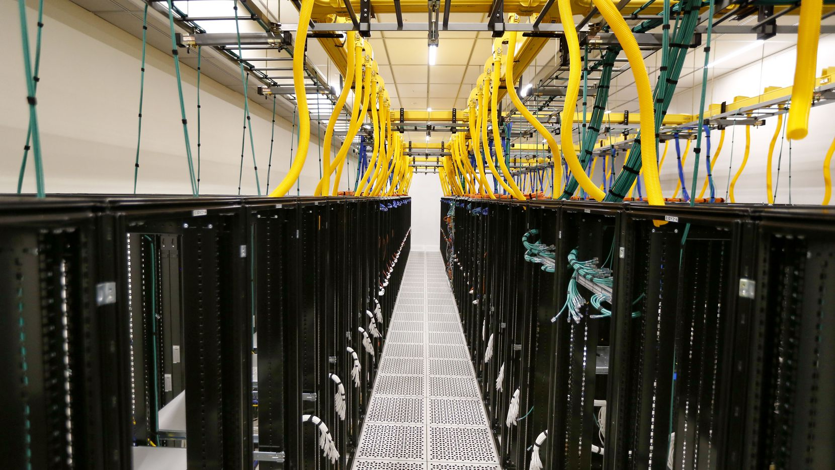 Empty racks in a planned data center at QTS Data Center in Irving, Texas on Sept. 14, 2017.