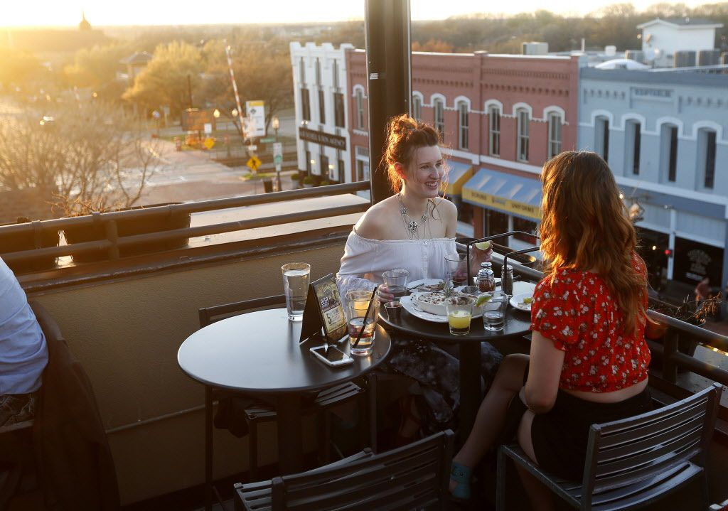The rooftop bar at Urban Crust in downtown Plano, Texas, Monday, March 23, 2015.