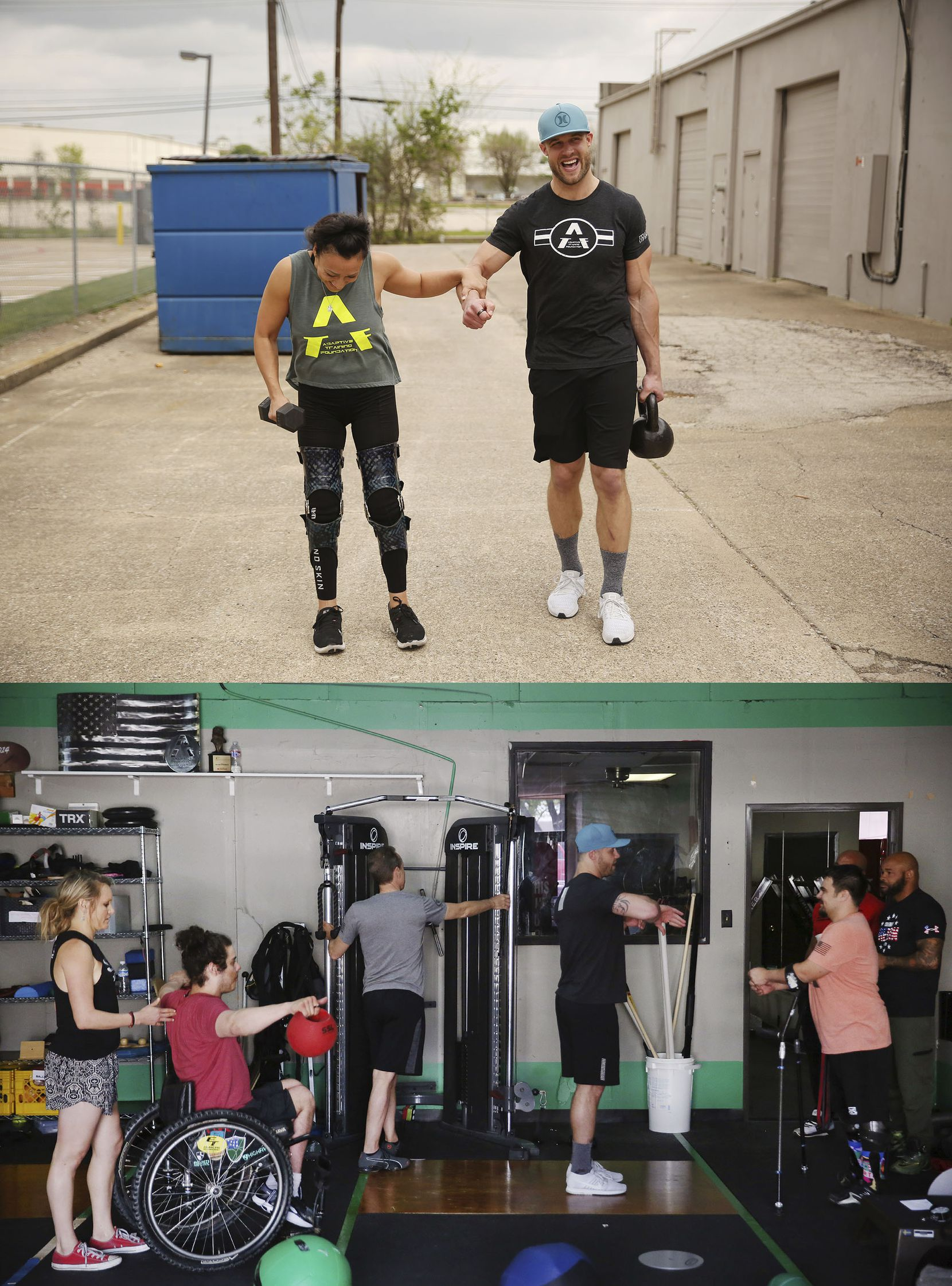 (Above) Vanessa Cantu grabs onto David Vobora while working out at the Adaptive Training Foundation gym in Dallas. (Below) David Vobora (in blue hat) speaks with Chris Wolff, (front right) Keyone Johnson (far right) and Paul Caldwell (obscured) during the Adaptive Training Foundation's last group workout in its old space in Dallas.