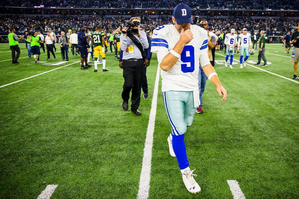 Dallas Cowboys quarterback Tony Romo walks off the field after the Green Bay Packers kicked a 51-yard game-winning field goal on the final play of an NFC divisional round playoff game at AT&T Stadium on Sunday, Jan. 15, 2017, in Arlington. (Smiley N. Pool/The Dallas Morning News)