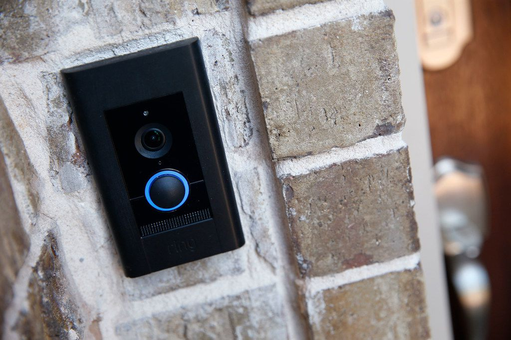 An Amazon Ring doorbell has a camera to monitor visitors at an Amazon Experience Center model home built by Lennar in Dallas.