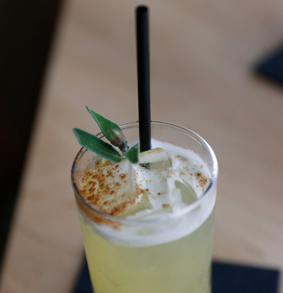 Cinners & Sage, made of Koval Gin, pineapple juice, cinnamon simple syrup and sage and is available at Halcyon Coffee Bar and Lounge photographed on Tuesday March 28, 2017. The new restaurant is located at 2900 Greenville Ave. in Dallas. (Ron Baselice/The Dallas Morning News)