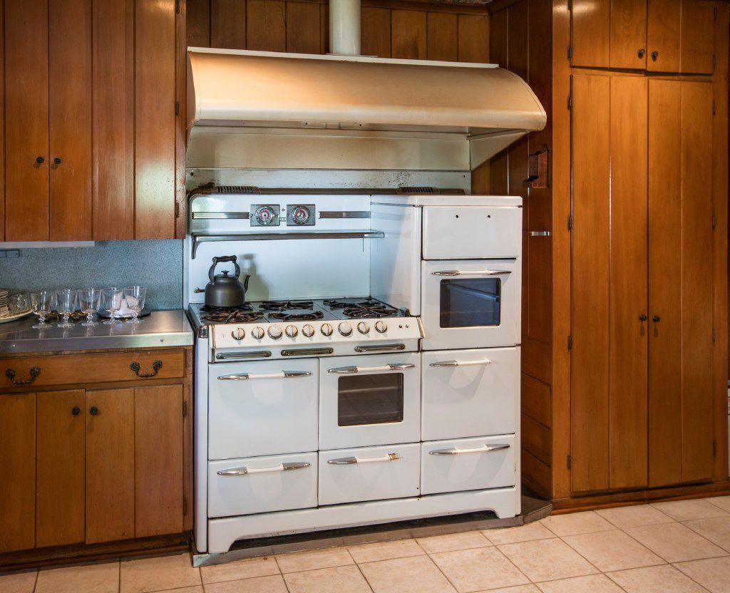 A functioning vintage stove and oven in the kitchen of the Big House at the Toddie Lee Wynne family's Star Brand Ranch in Kaufman County.