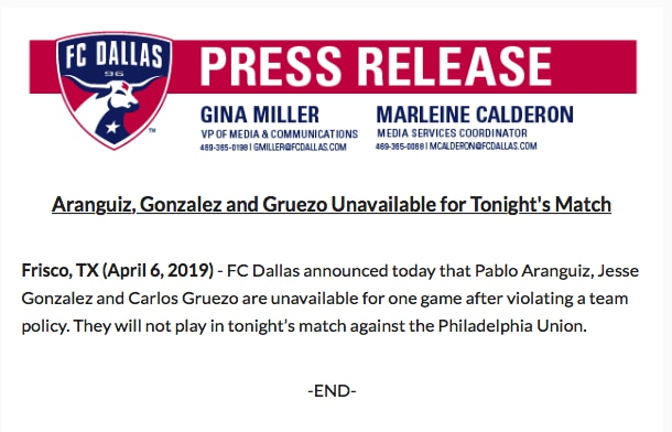 The FC Dallas statement on the suspension of Pablo Aranguiz, Jesse Gonzalez, and Carlos Gruezo.