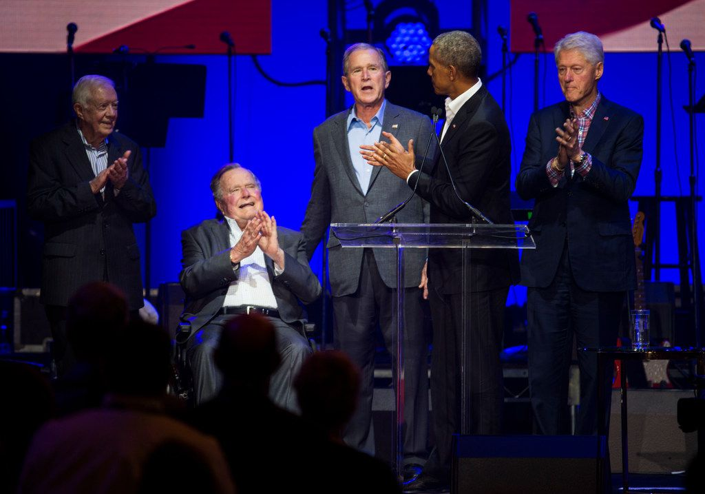 """Former presidents Jimmy Carter, George H.W. Bush, George W. Bush, Barack Obama and Bill Clinton were on hand for the Deep From the Heart"""" charity concert Saturday at Texas A&M University. (Ashley Landis/Staff Photographer)"""