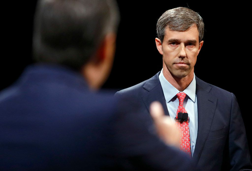 Rep. Beto O'Rourke (D-TX) looks and listens to Sen. Ted Cruz (R-TX) during a debate at McFarlin Auditorium at SMU in Dallas, on  Friday, September 21, 2018. (Tom Fox/The Dallas Morning News/Pool)