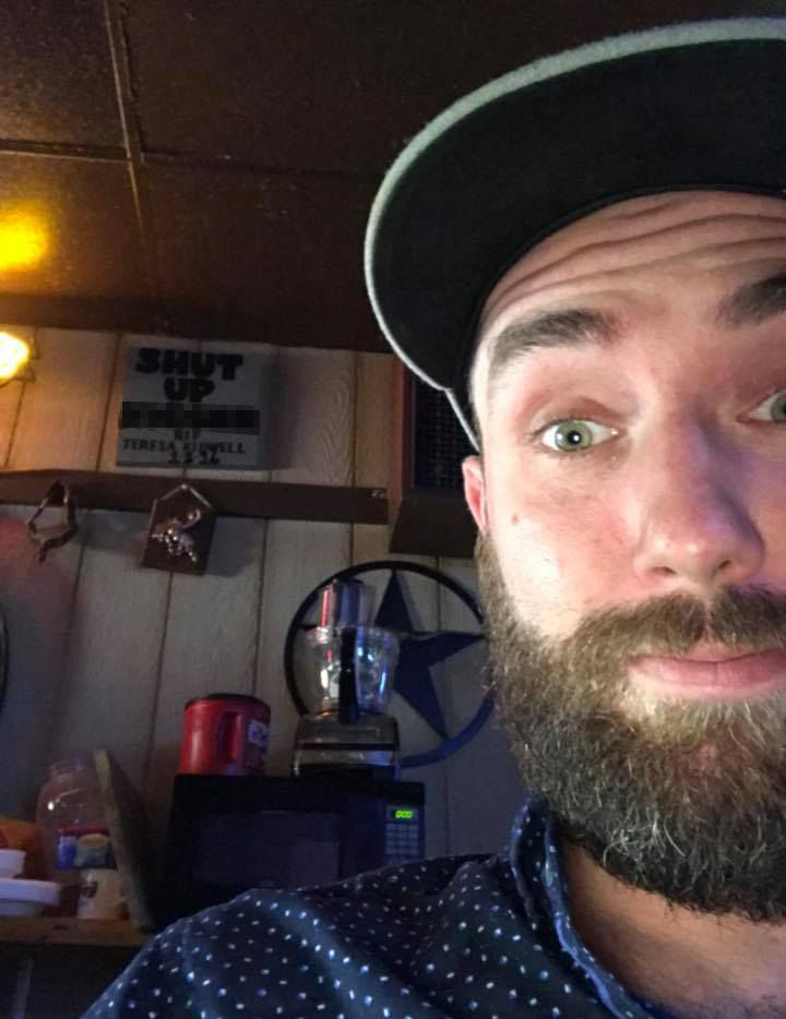 Jesse Bunting, owner of Jesse's 50/Fifty bar in Fort Worth, took a photo of a sign with a racial slur at another bar, Jim's Rodeo Tavern, on Monday.