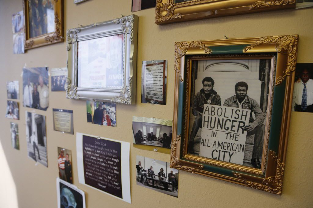 A photo in civil rights advocate Peter Johnson's office in the Bank of America building in Oak Cliff shows him (on the left) with Herbert Wright on the steps of Dallas City Hall as they fasted to bring attention to hunger in the city.