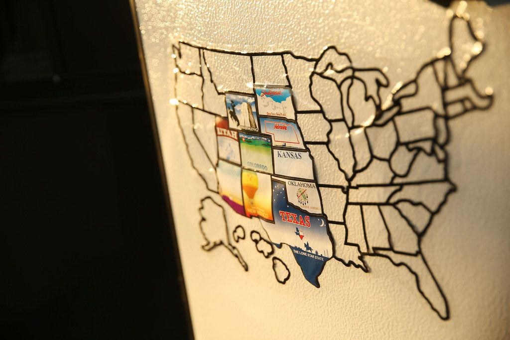 A map of states Keven Ann Willey and Georges Badoux have visited in the Casita sits on the inside of the door.