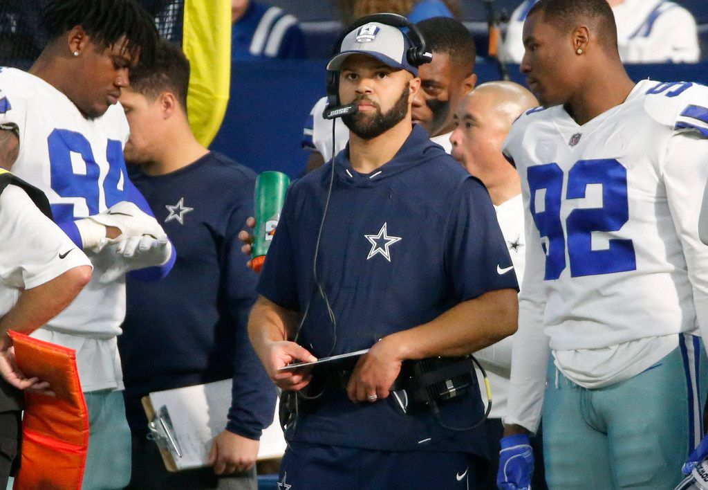 Dallas Cowboys defensive backs coach Kris Richard is pictued during the Dallas Cowboys vs. the Indianapolis Colts NFL football game at Lucas Oil Stadium in Indianapolis on Sunday, December 16, 2018. (Louis DeLuca/The Dallas Morning News)