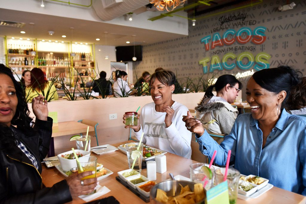 Barbara Fuller, far-left, Latonya Robinson and Bonita Rodgers, far-right, enjoy their lunch meal with drinks at Urban Taco in Dallas, Monday, Feb. 18, 2019. Ben Torres/Special Contributor