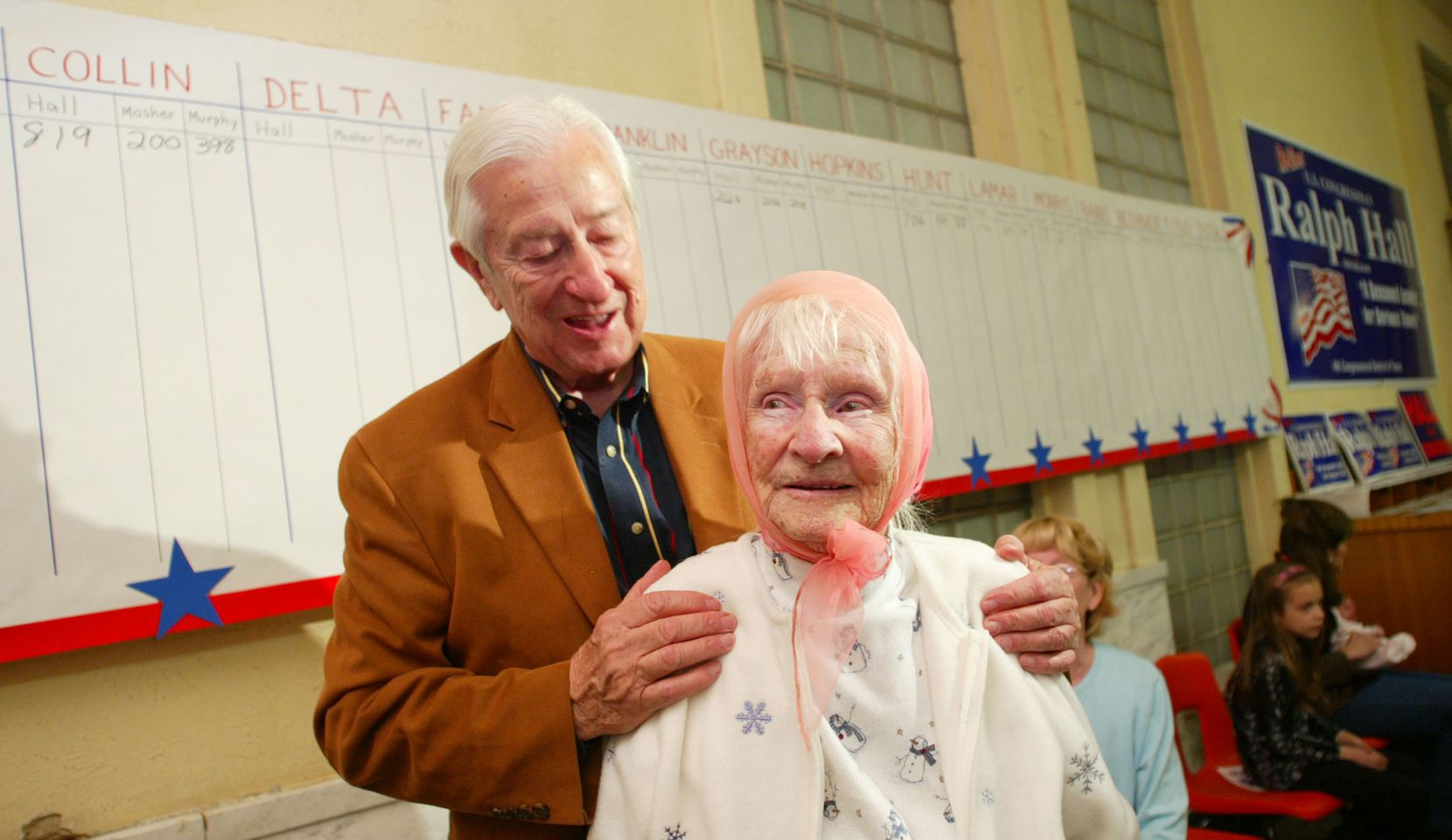 Rep. Ralph Hall introduced his oldest supporter at the time, Mable Dalton, 96, at an election night party at his Rockwall headquarters in March 2004.