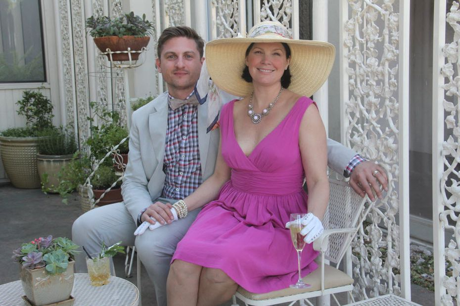 Lisa Garza-Sercer, on right, with Travis Selcer on Derby Day in 2013 at their restaurant Sissy's Southern Kitchen and Bar in Dallas.