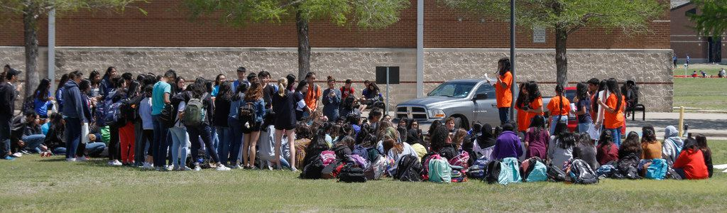 Students gathered outside Plano ISD's Jasper High School in Plano  for the National School Walkout.