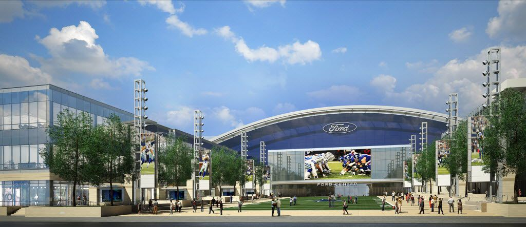 A rendering of plaza leading into The Ford Center at The Star in Frisco where the Dallas Cowboys training facility is located.