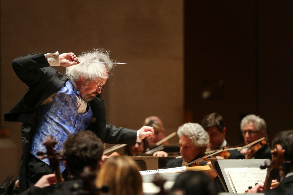 Conductor Carlos Kalmar conducts the Dallas Symphony Orchestra during a concert on Feb. 28, 2019 at the Meyerson Symphony Center in Dallas. (Ryan Michalesko/The Dallas Morning News)