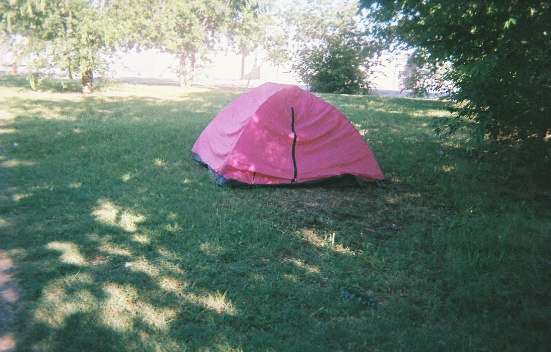 A homeless woman named Yolanda took this photo of someone's tent.
