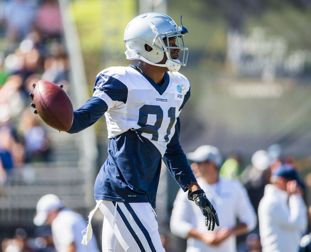 Cowboys wide receiver Jon'Vea Johnson (81) is pictured during an afternoon practice at training camp in Oxnard, Calif., on Tuesday, Aug. 6, 2019. (Ashley Landis/The Dallas Morning News)