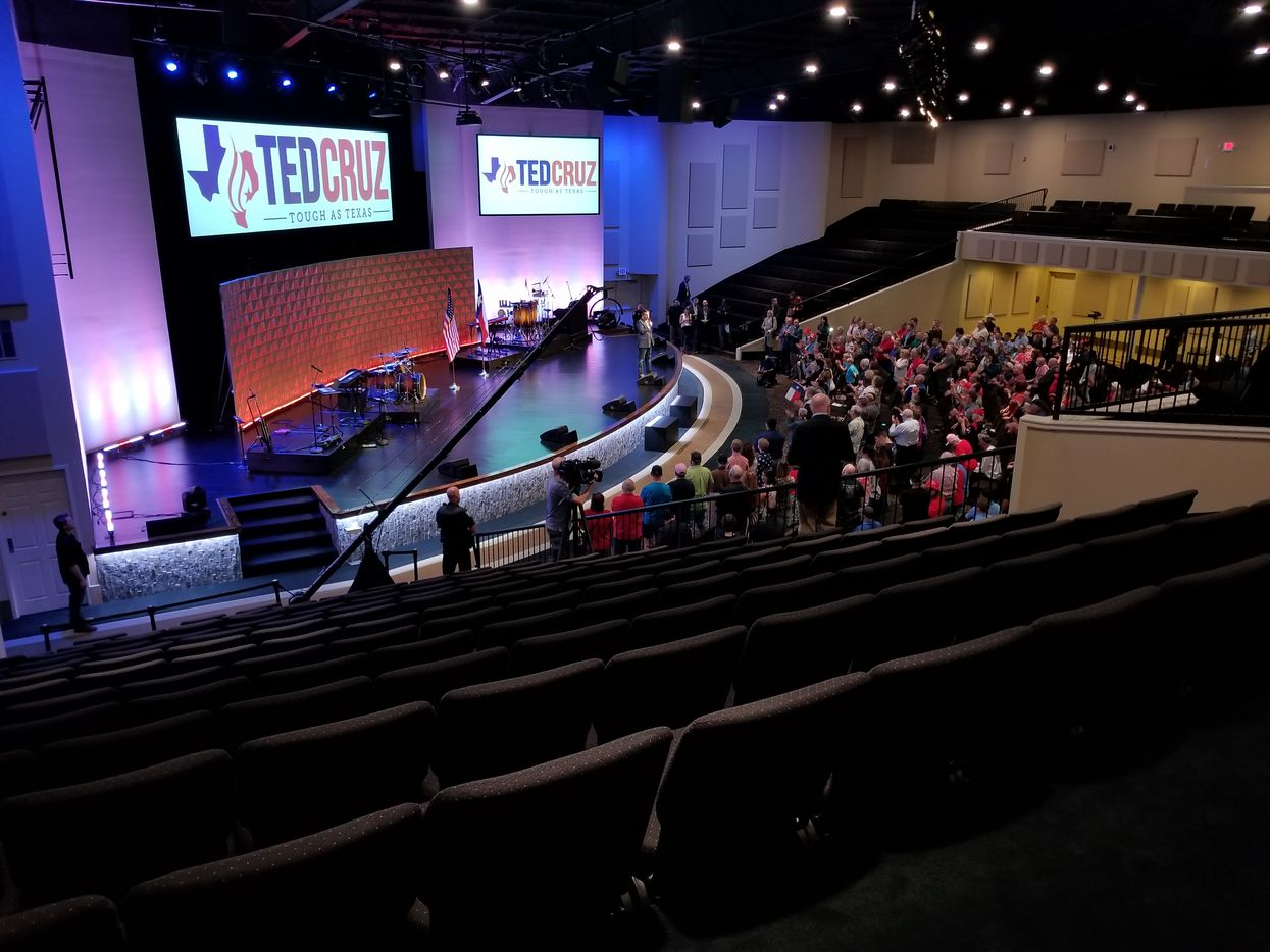 Sen. Ted Cruz spoke to a mostly empty sanctuary at First Baptist Church of Pearland, outside Houston, on Nov. 5, 2018.