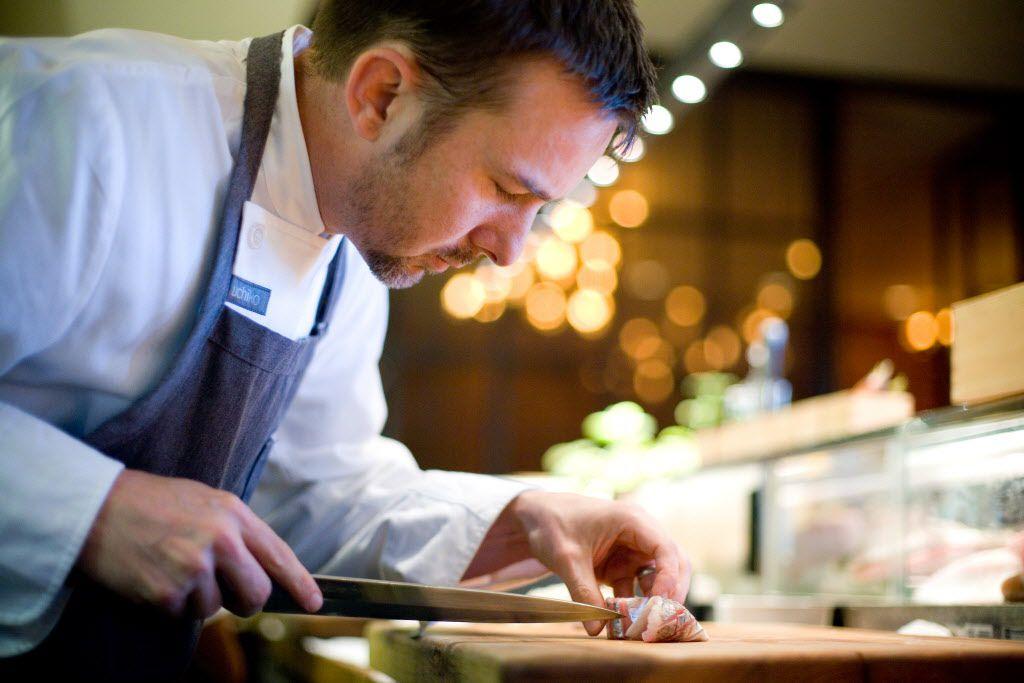 Executive chef and owner Tyson Cole prepares mackerel sashimi at Uchiko on North Lamar in Austin, Texas.