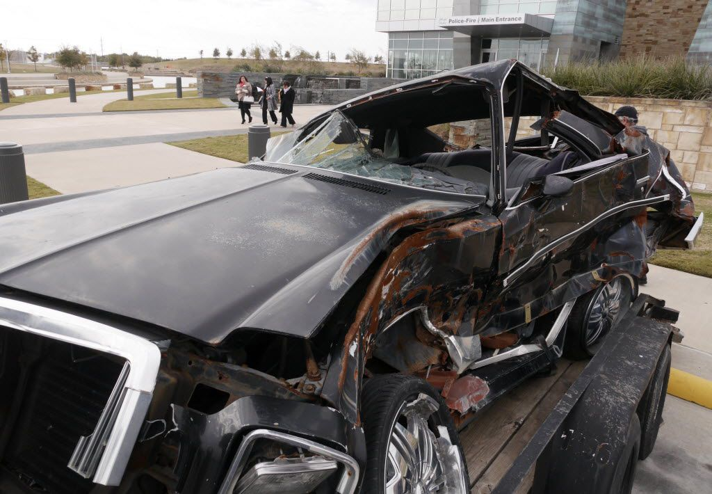 This car crushed in a drunken driving wreck was on display in a joint Dallas County & Tarrant County DWI Press Conference in November 2014.